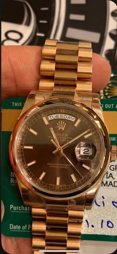 compra venta Rolex Day-Date 36 EVEROSE CHOCO STICKERS